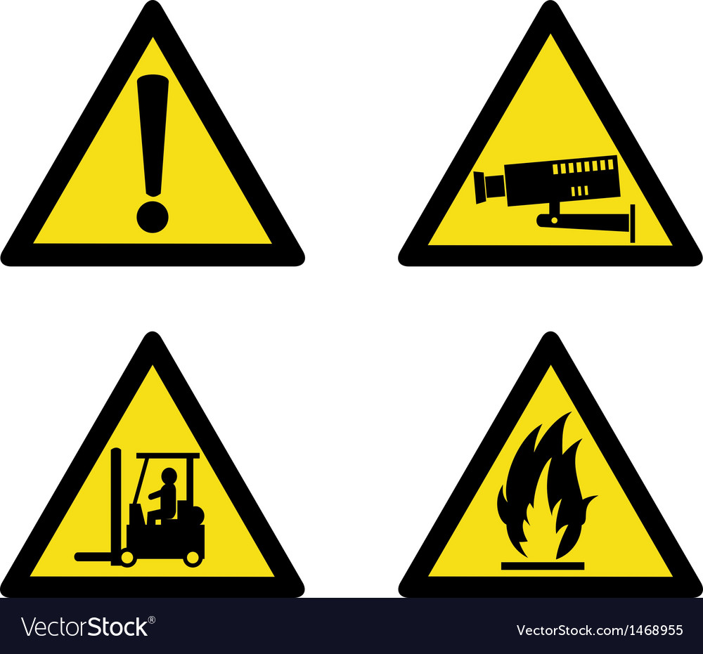 Workplace sign security camera forklift flammable vector | Price: 1 Credit (USD $1)