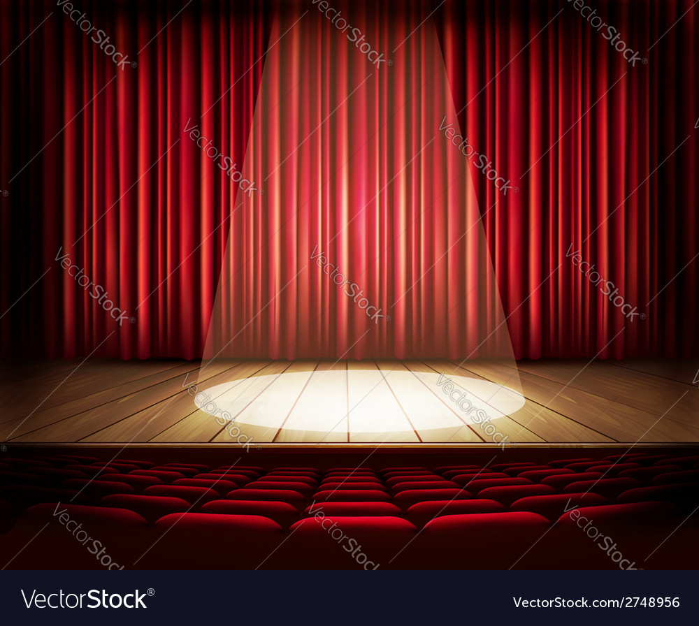 A theater stage with a red curtain seats and a vector | Price: 1 Credit (USD $1)