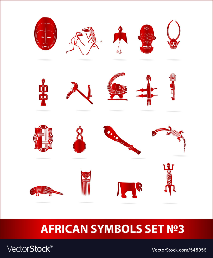 African symbols set red color isolated vector | Price: 1 Credit (USD $1)