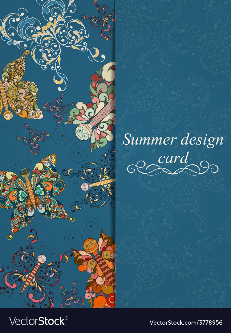 Butterfly summer card vector | Price: 1 Credit (USD $1)