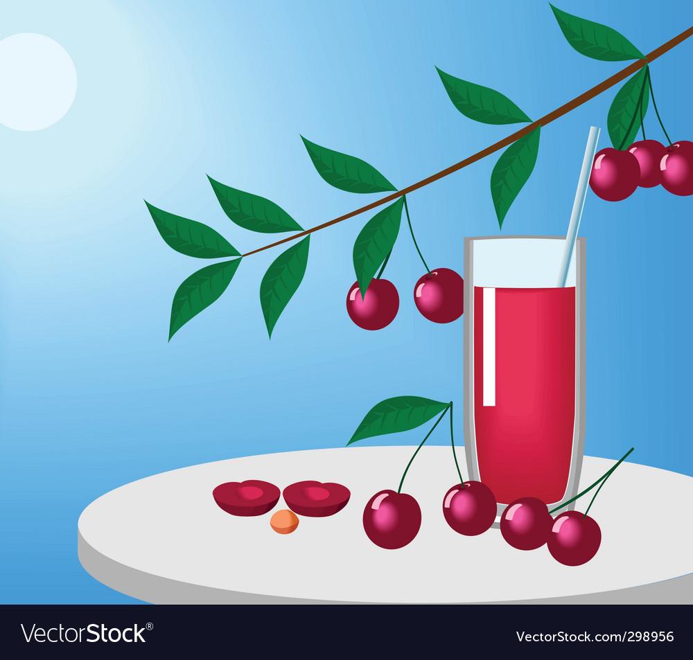 Cherries and juice vector | Price: 1 Credit (USD $1)