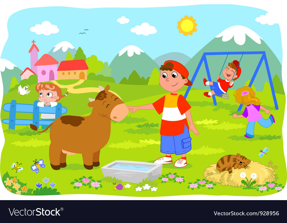 Children holidays at the mountains vector | Price: 3 Credit (USD $3)