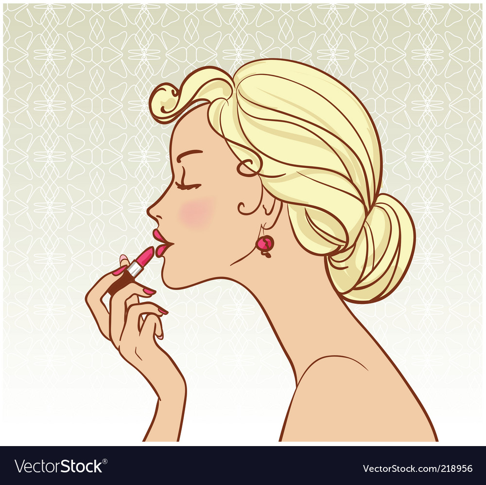 Girl with lipstick vector | Price: 3 Credit (USD $3)