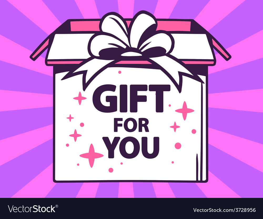 Open box with icon of gift for you on pu vector | Price: 1 Credit (USD $1)