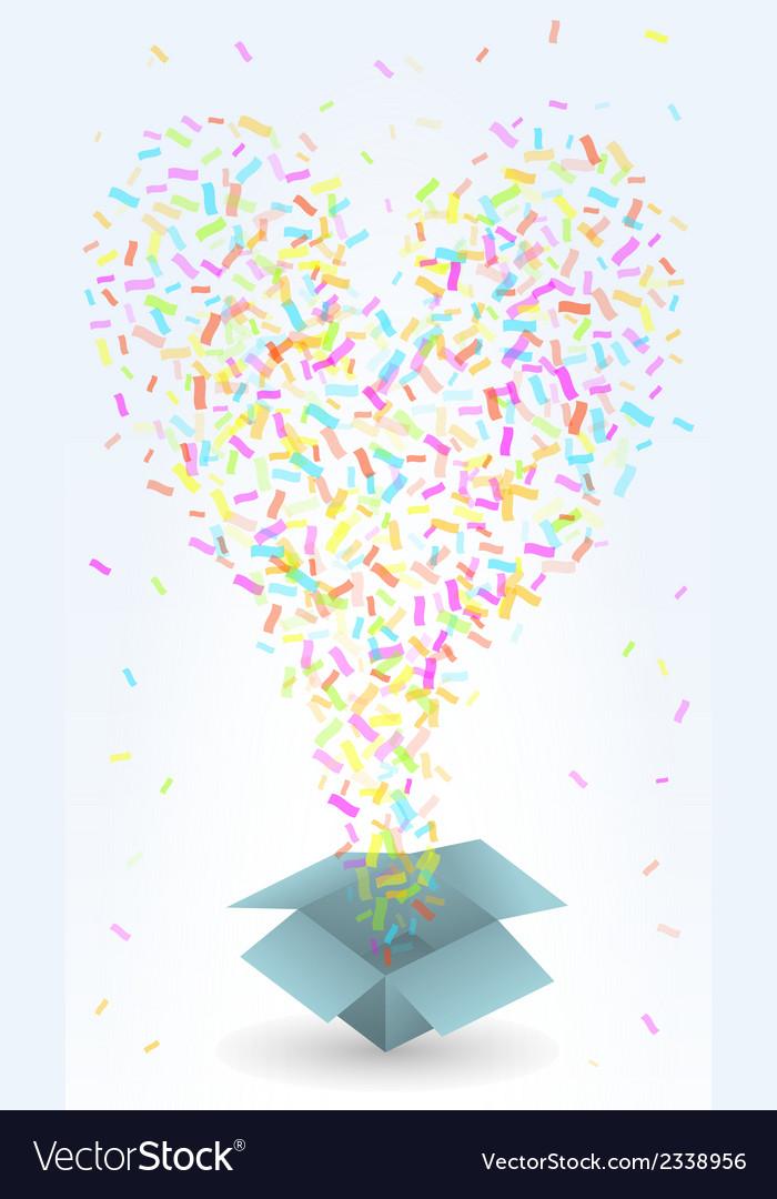 Paper box and confetti vector | Price: 1 Credit (USD $1)