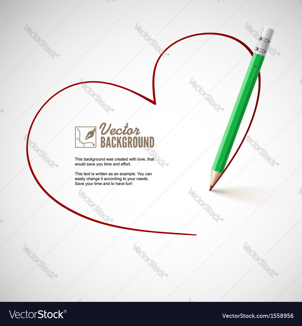 Pencil drawing heart vector | Price: 1 Credit (USD $1)