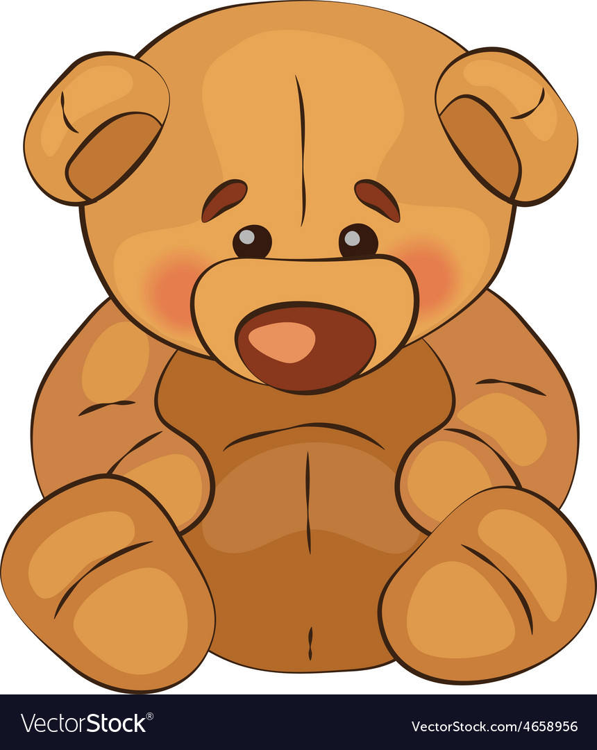 Sad teddy bear sits on a white background vector | Price: 1 Credit (USD $1)