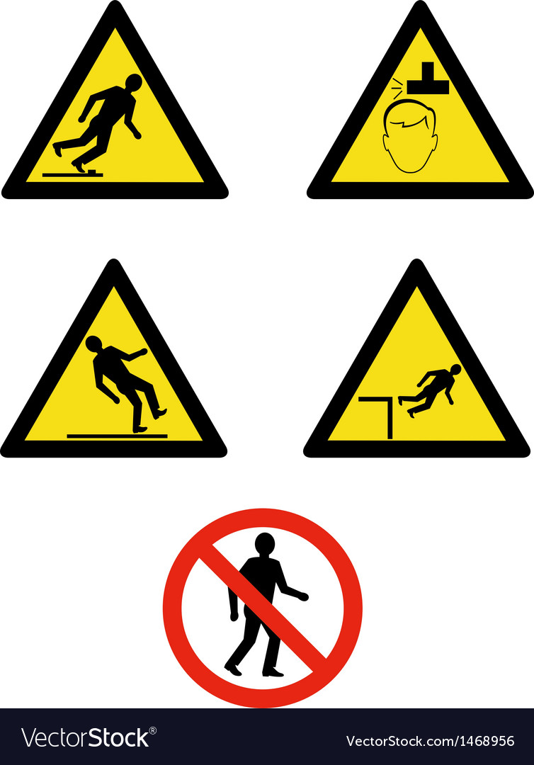 Workplace sign slippery falling fall vector | Price: 1 Credit (USD $1)