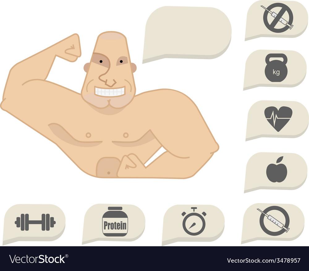 Bodybuilder torso with speech bubbles happy face vector | Price: 1 Credit (USD $1)