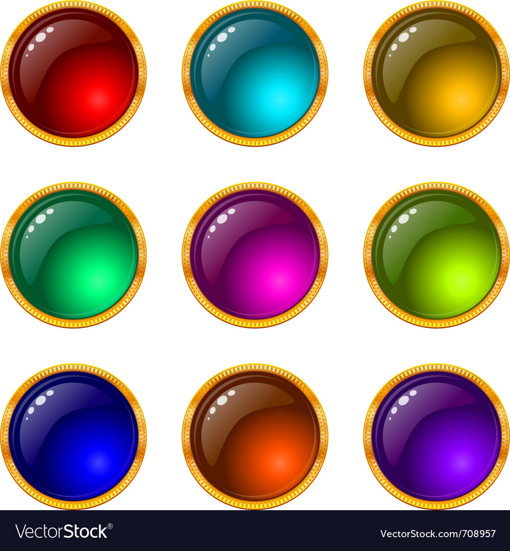 Buttons with gems set round vector | Price: 1 Credit (USD $1)