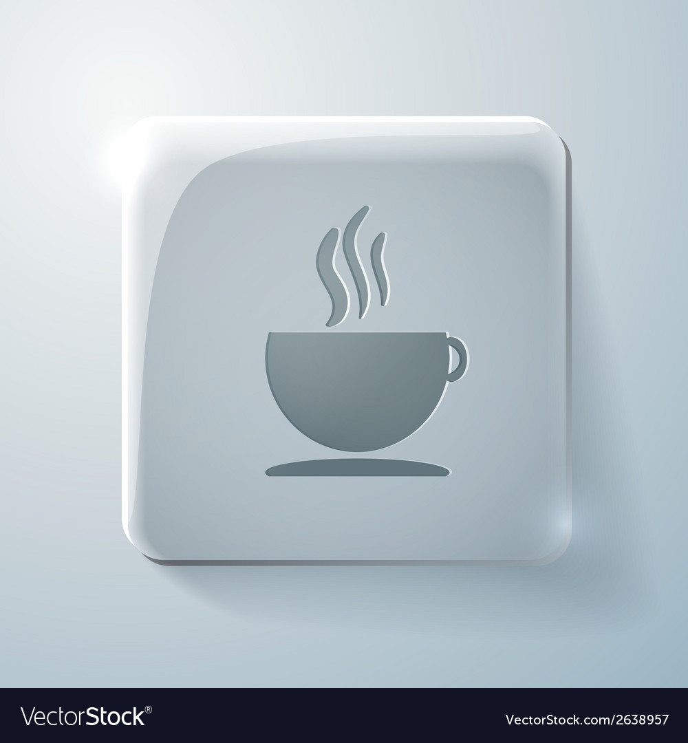 Cup of hot drink glass square icon vector | Price: 1 Credit (USD $1)