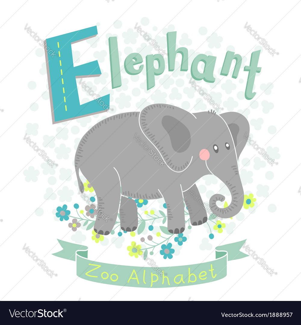Letter e - elephant vector | Price: 1 Credit (USD $1)