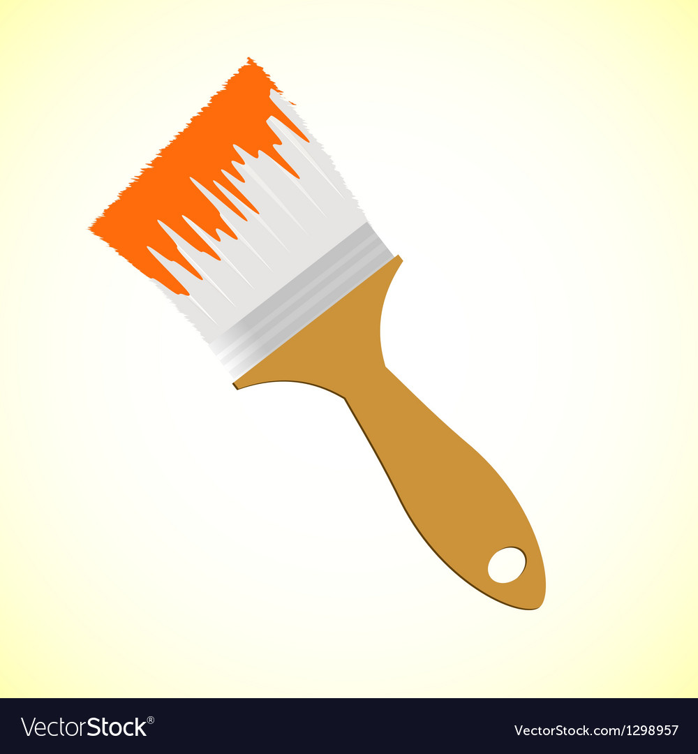 Orange paint brush on yellow smooth background vector | Price: 1 Credit (USD $1)