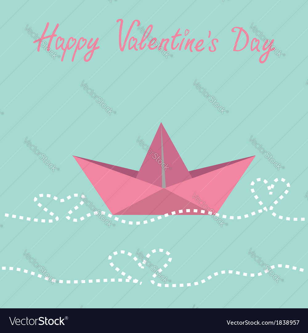 Paper boat and waves in shape of heart valentines vector | Price: 1 Credit (USD $1)