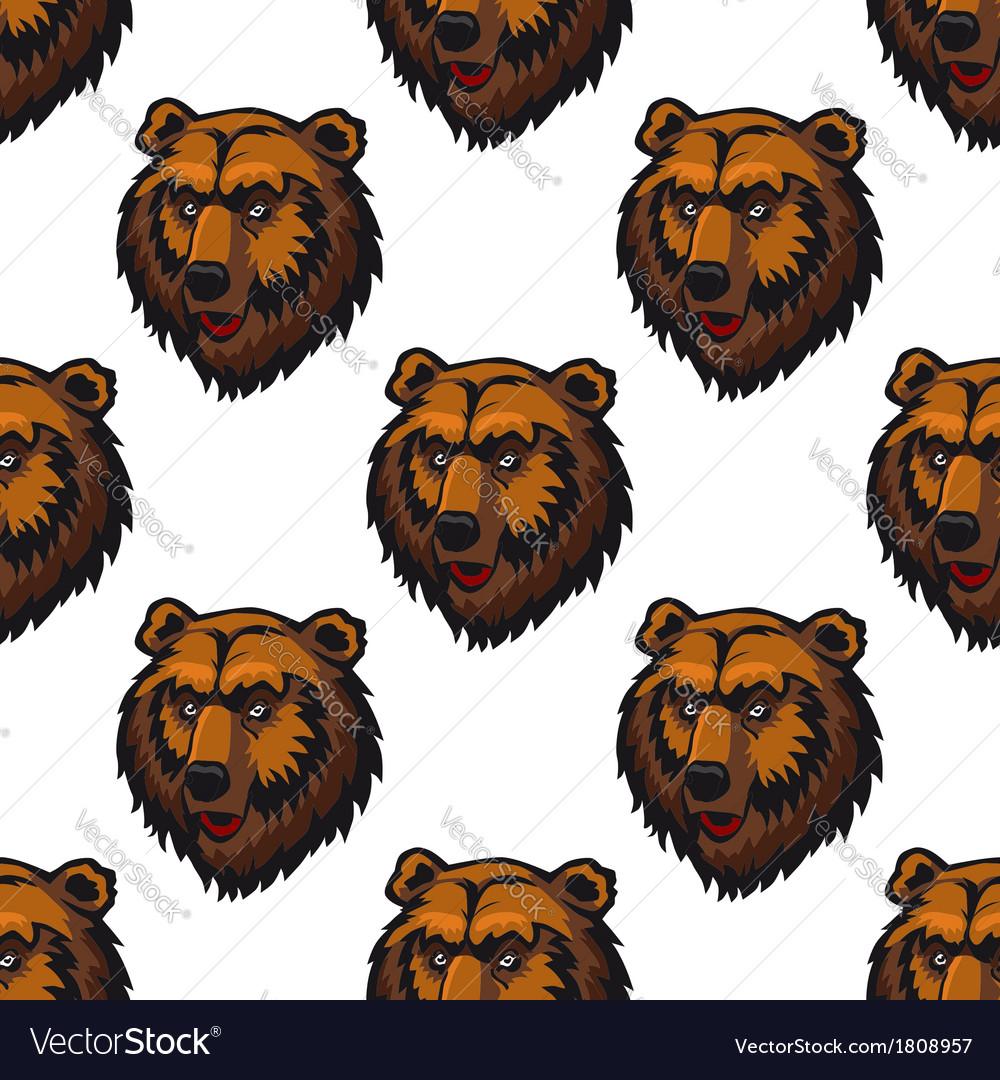 Seamless pattern of brown bear head trophies vector | Price: 1 Credit (USD $1)