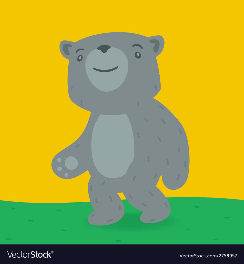 Toy bear walking on the grass vector | Price: 1 Credit (USD $1)