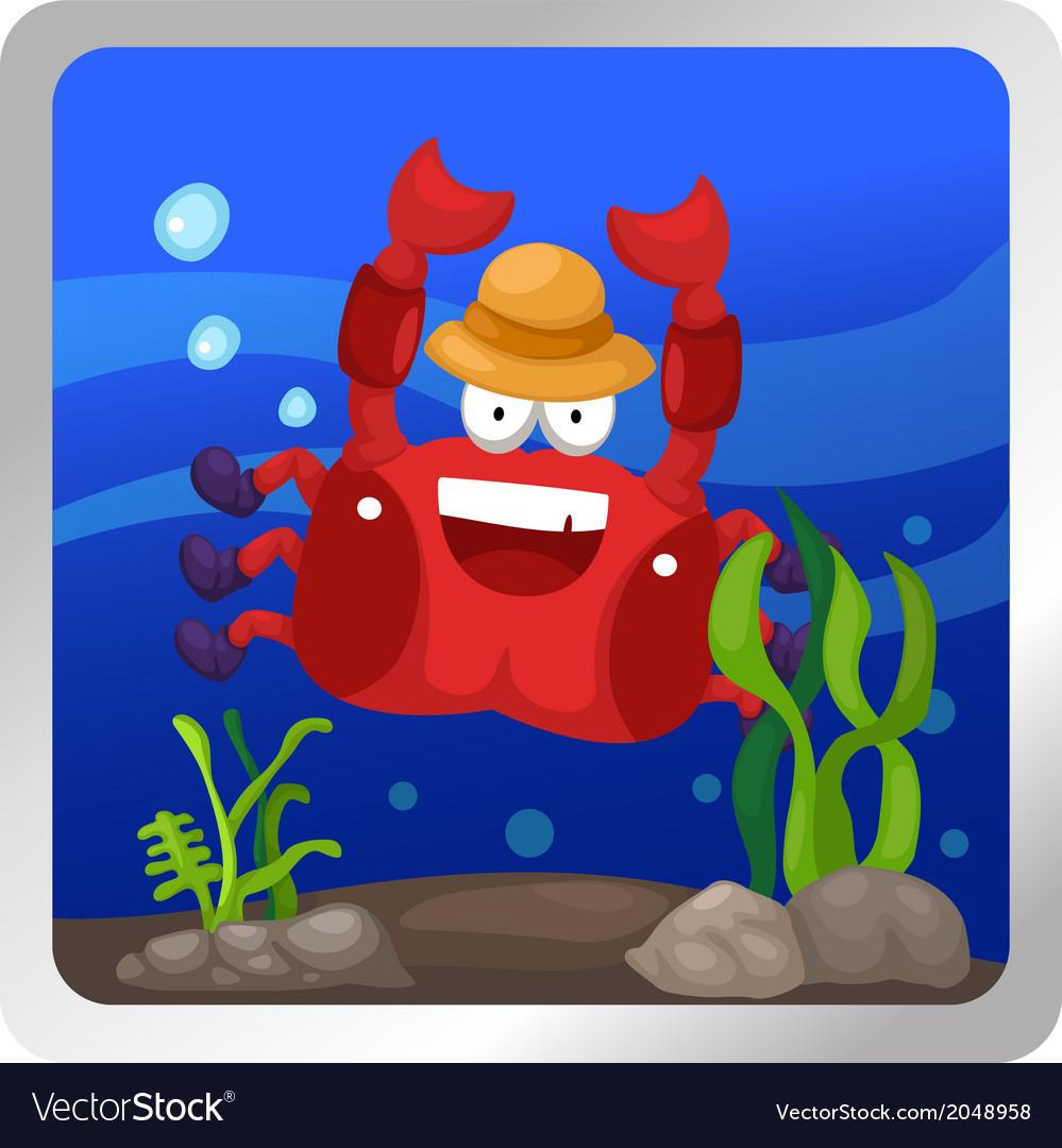 A crab underwater background vector | Price: 1 Credit (USD $1)