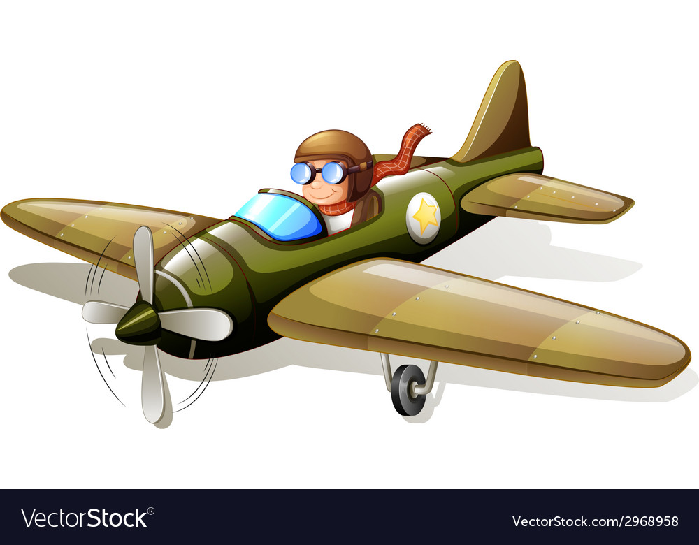 A vintage plane with a pilot vector | Price: 1 Credit (USD $1)