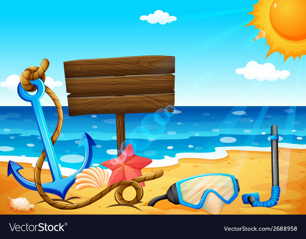 An empty signage at the beach with an anchor vector | Price: 1 Credit (USD $1)