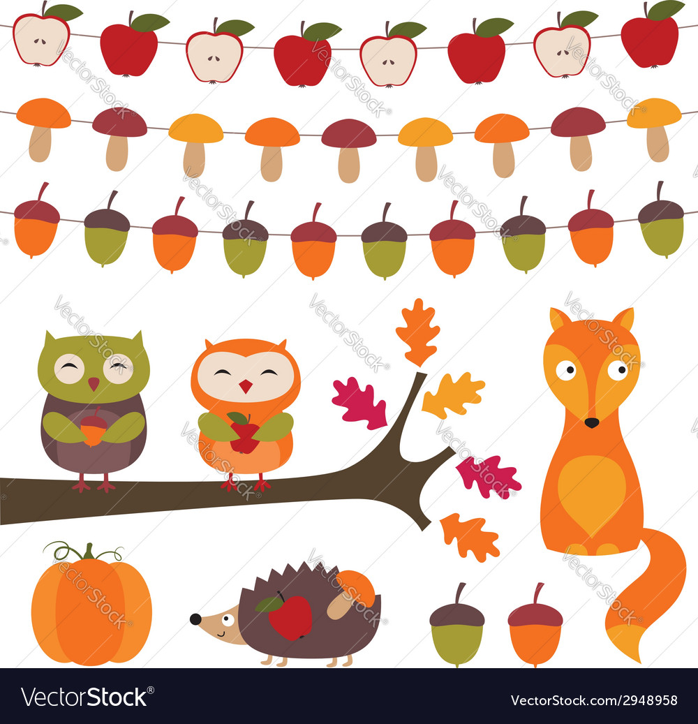 Autumn elements set vector | Price: 1 Credit (USD $1)