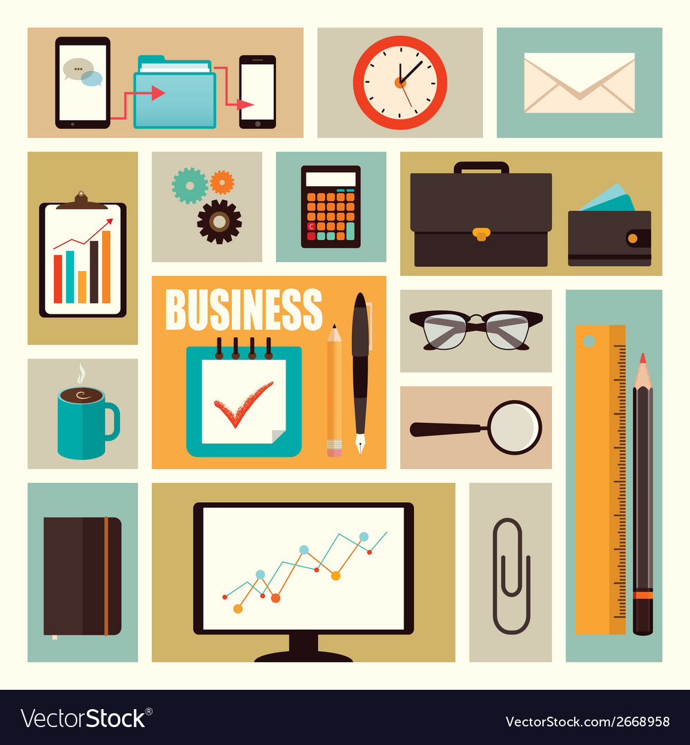 Business flat elements vector | Price: 1 Credit (USD $1)