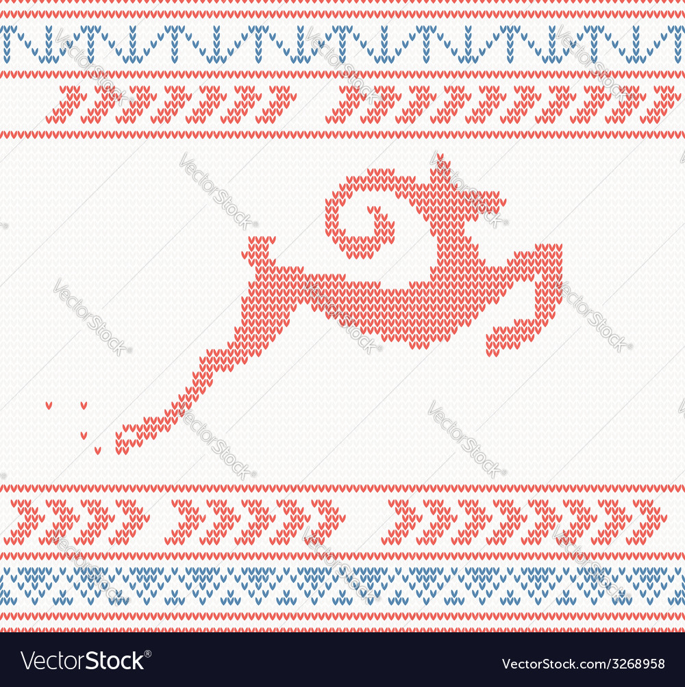 Christmas knitted pattern with jumping goat or dee vector | Price: 1 Credit (USD $1)