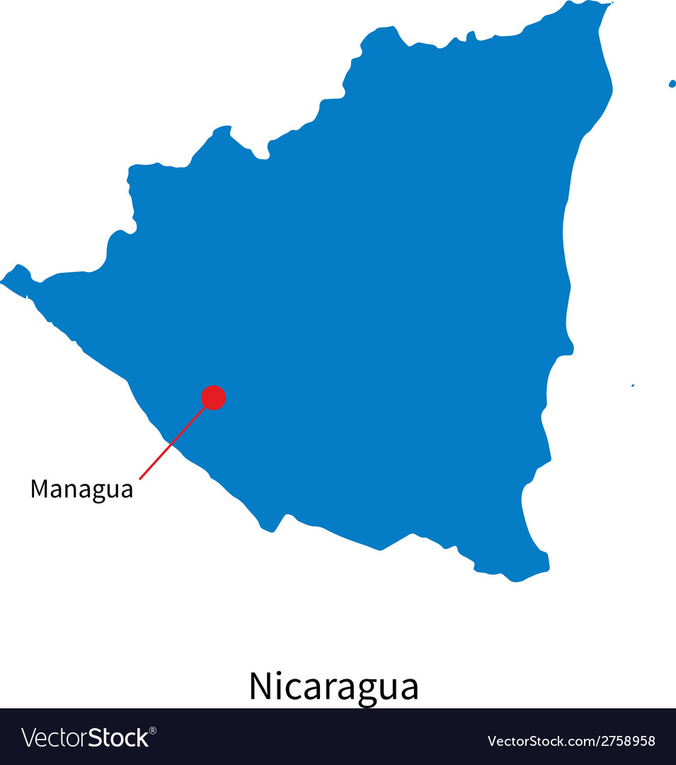 Detailed map of nicaragua and capital city managua vector | Price: 1 Credit (USD $1)