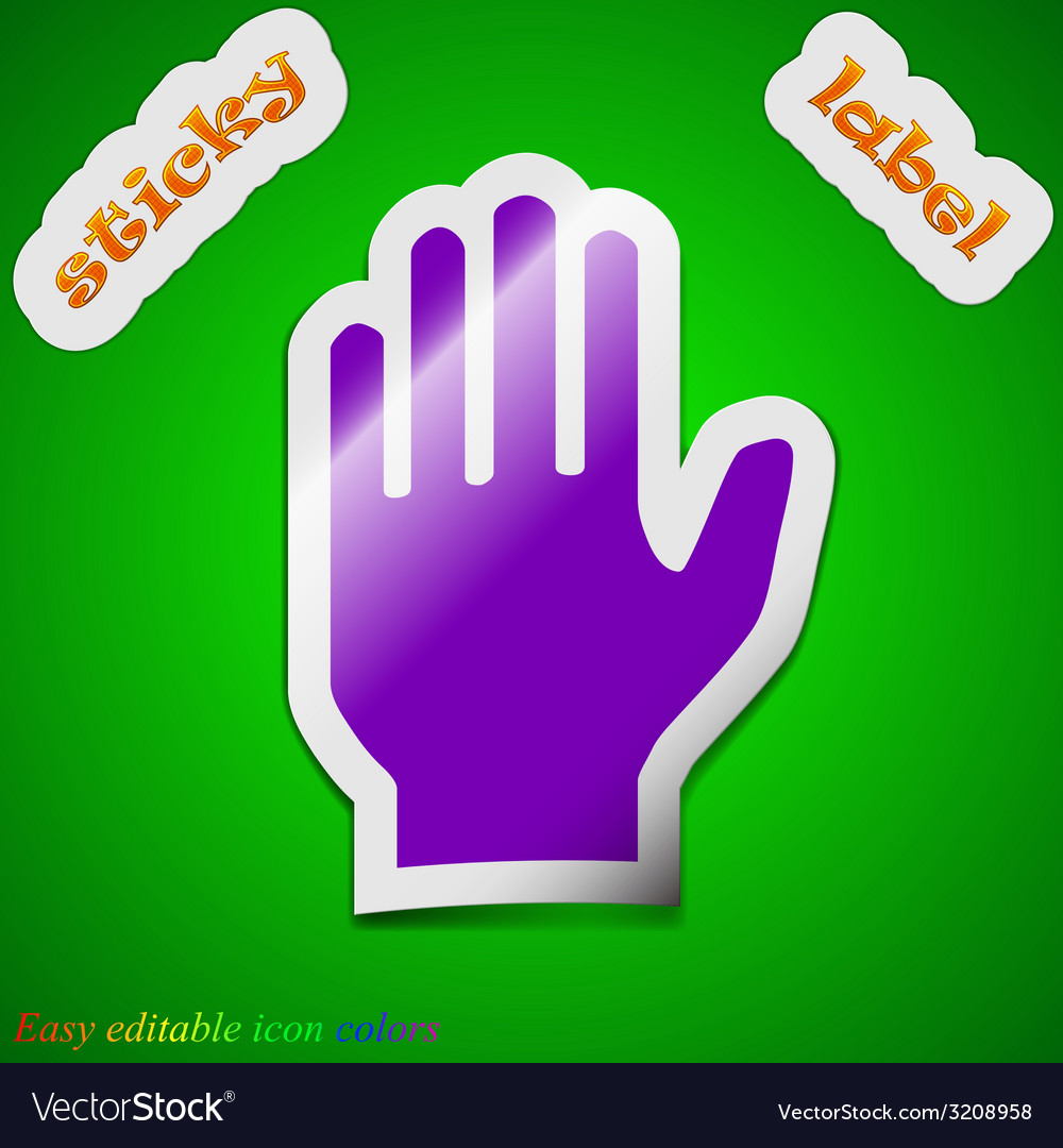 Hand print icon sign symbol chic colored sticky vector | Price: 1 Credit (USD $1)