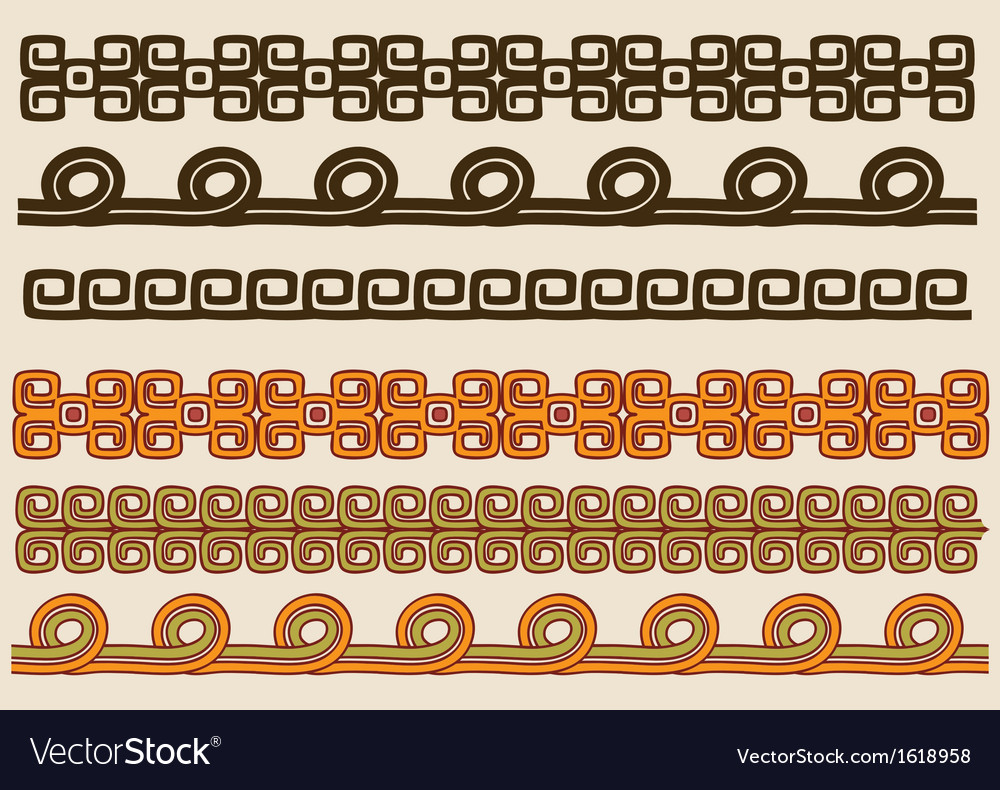 Native american pattern border set vector | Price: 1 Credit (USD $1)