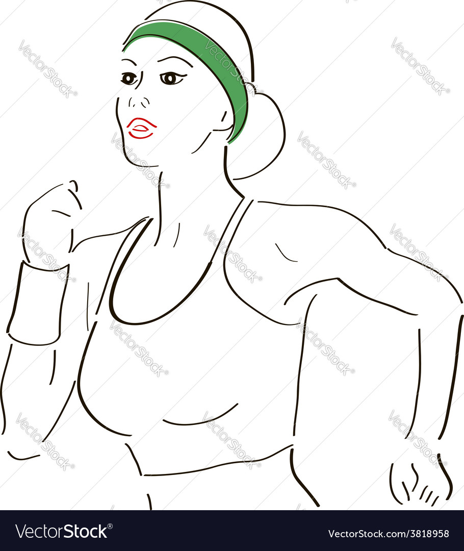 Running woman sketch vector | Price: 1 Credit (USD $1)