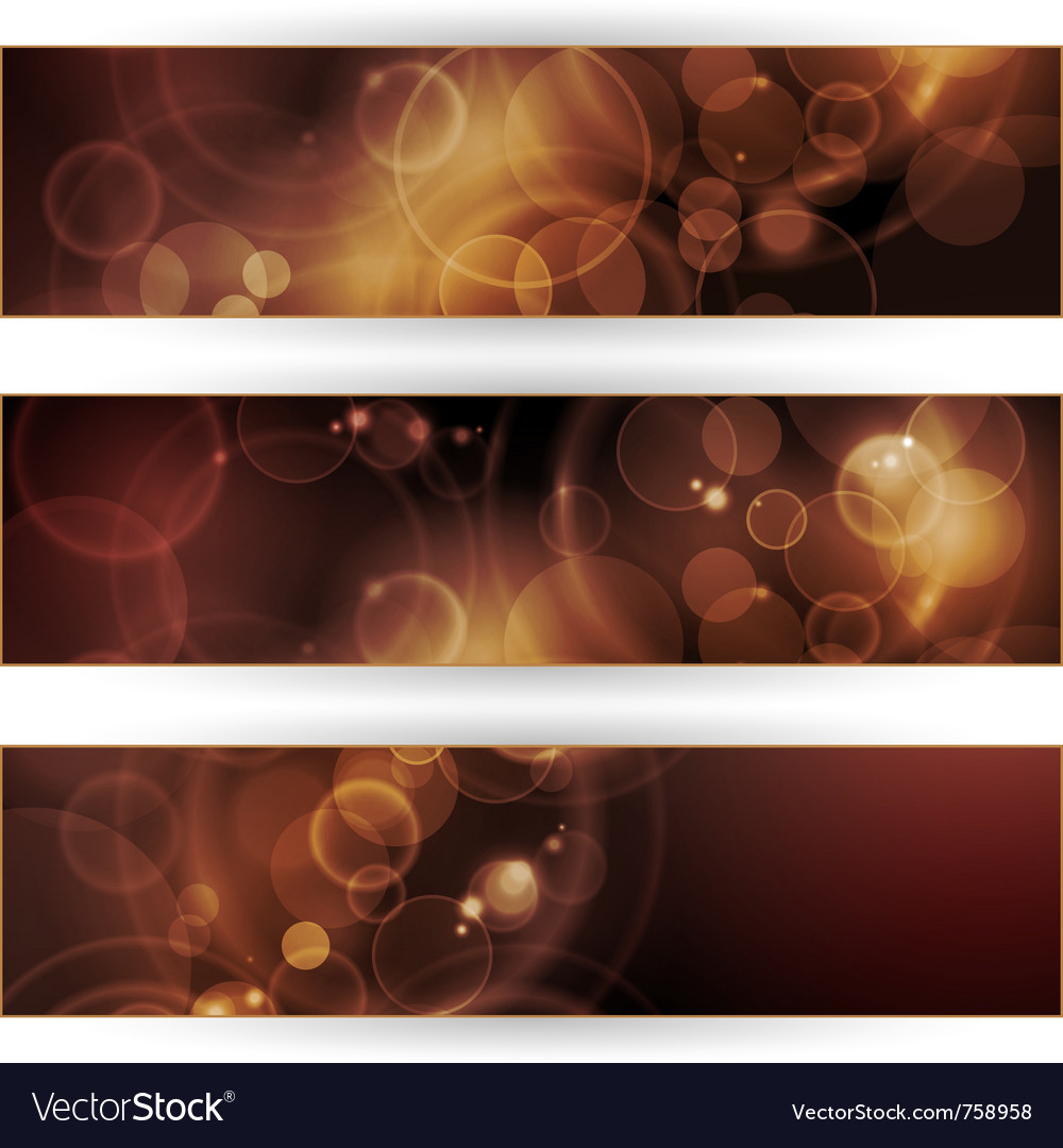 Set of sepia tone bokeh banners vector | Price: 1 Credit (USD $1)