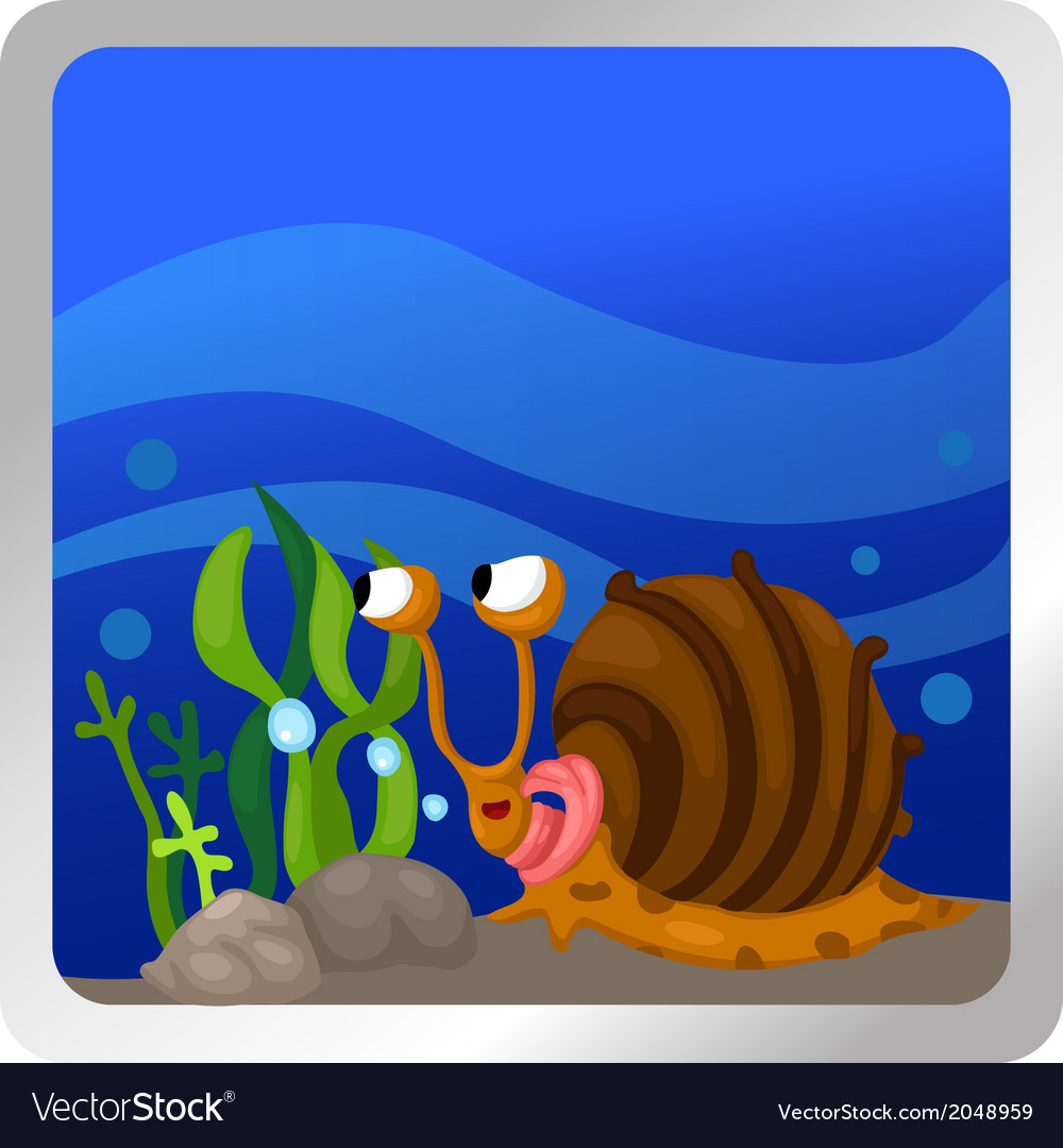 A snail underwater background vector | Price: 1 Credit (USD $1)
