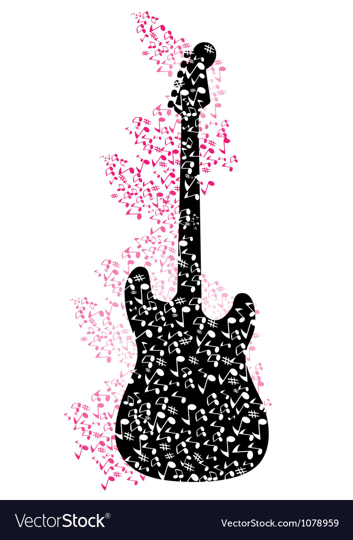 Abstract mysical background with guitar vector | Price: 1 Credit (USD $1)