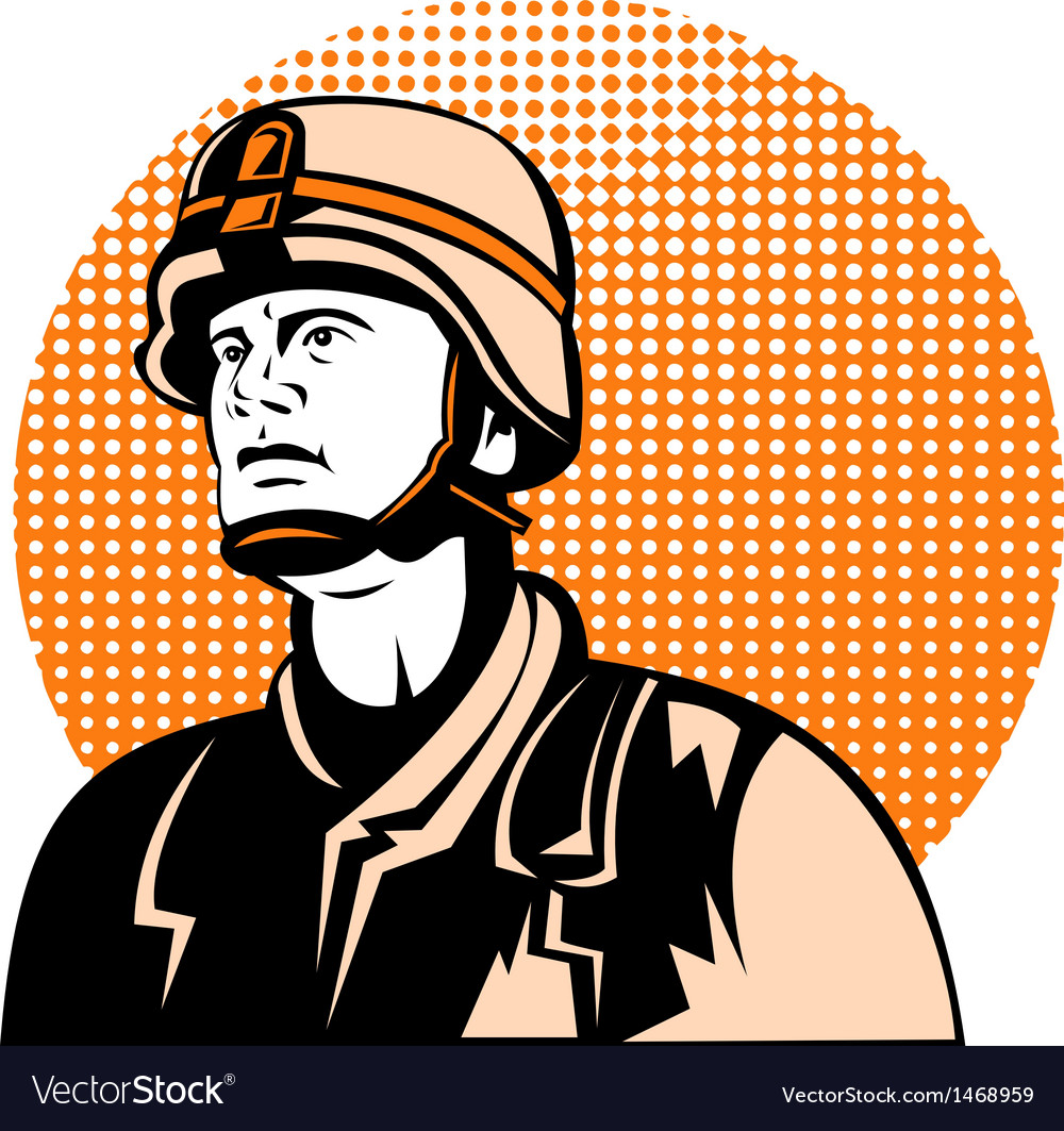 American soldier looking up vector | Price: 1 Credit (USD $1)