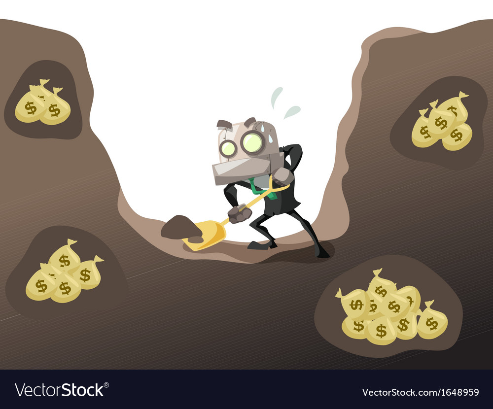 Businessrobot dig money 2 vector | Price: 1 Credit (USD $1)