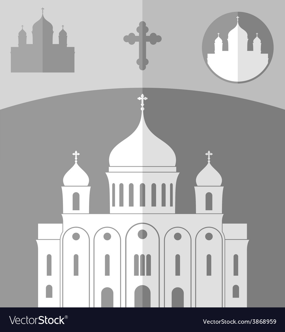 Cathedral of christ the saviour russia vector | Price: 1 Credit (USD $1)