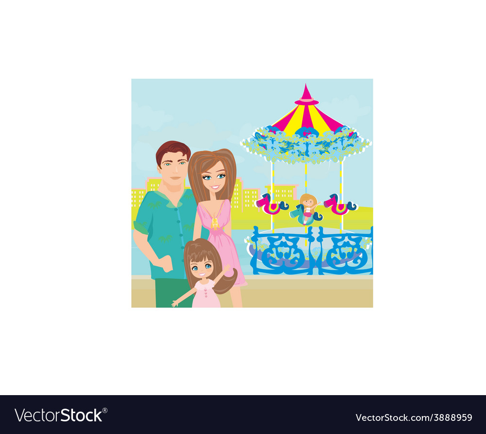 Child playing on the carousel vector | Price: 1 Credit (USD $1)
