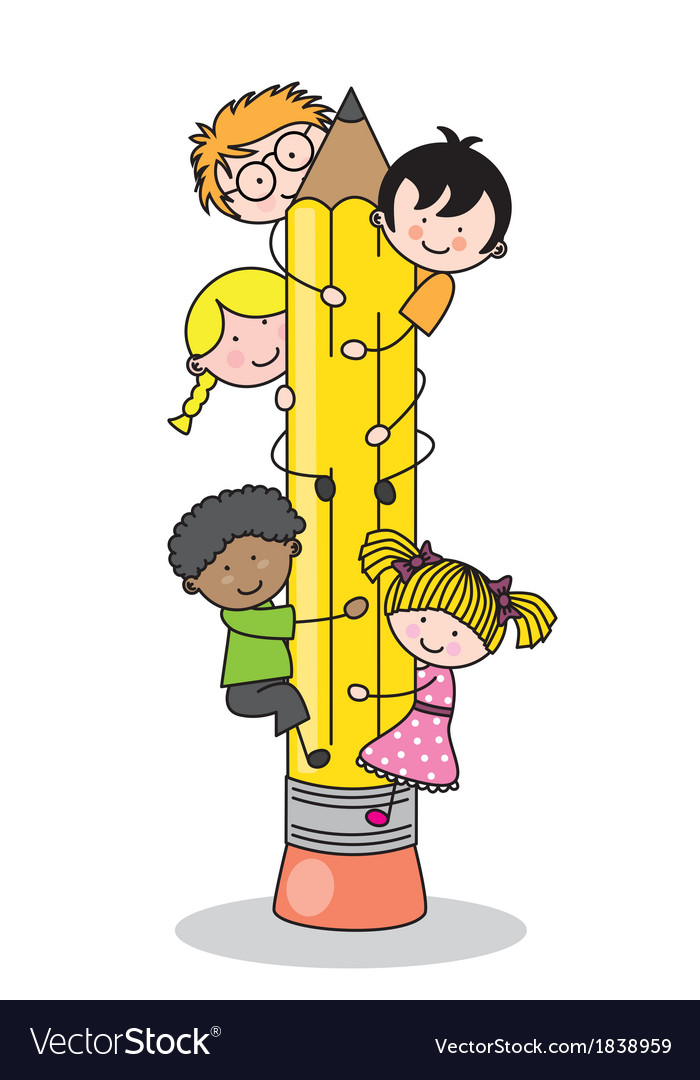 Children climbing up a pencil vector | Price: 1 Credit (USD $1)