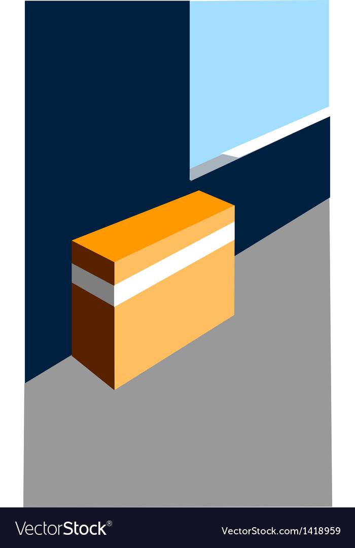 Closed box on floor vector | Price: 1 Credit (USD $1)