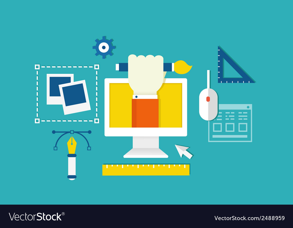 Concept of web design and devices for work vector | Price: 1 Credit (USD $1)