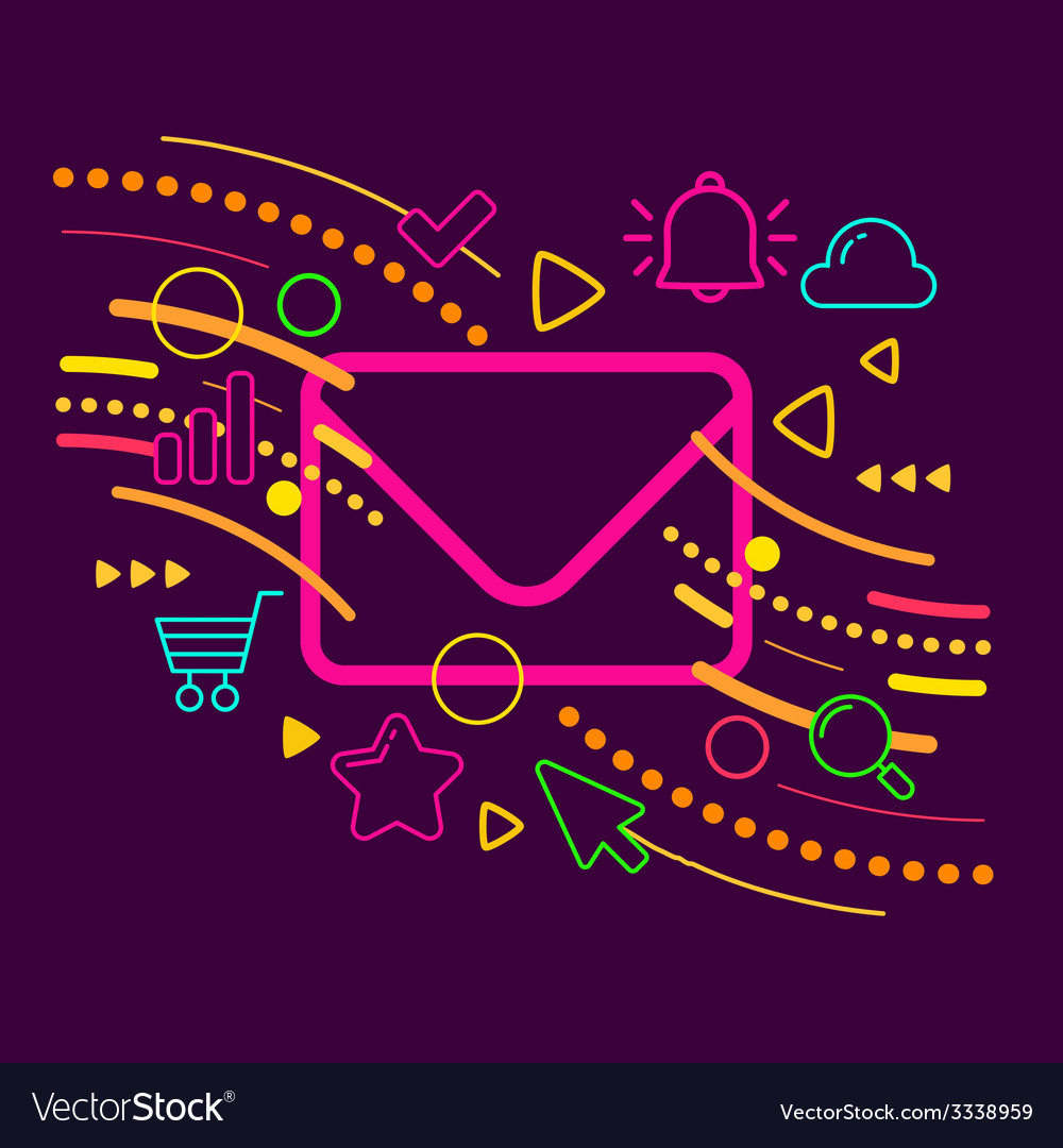 Envelope on abstract colorful geometric dark vector | Price: 3 Credit (USD $3)