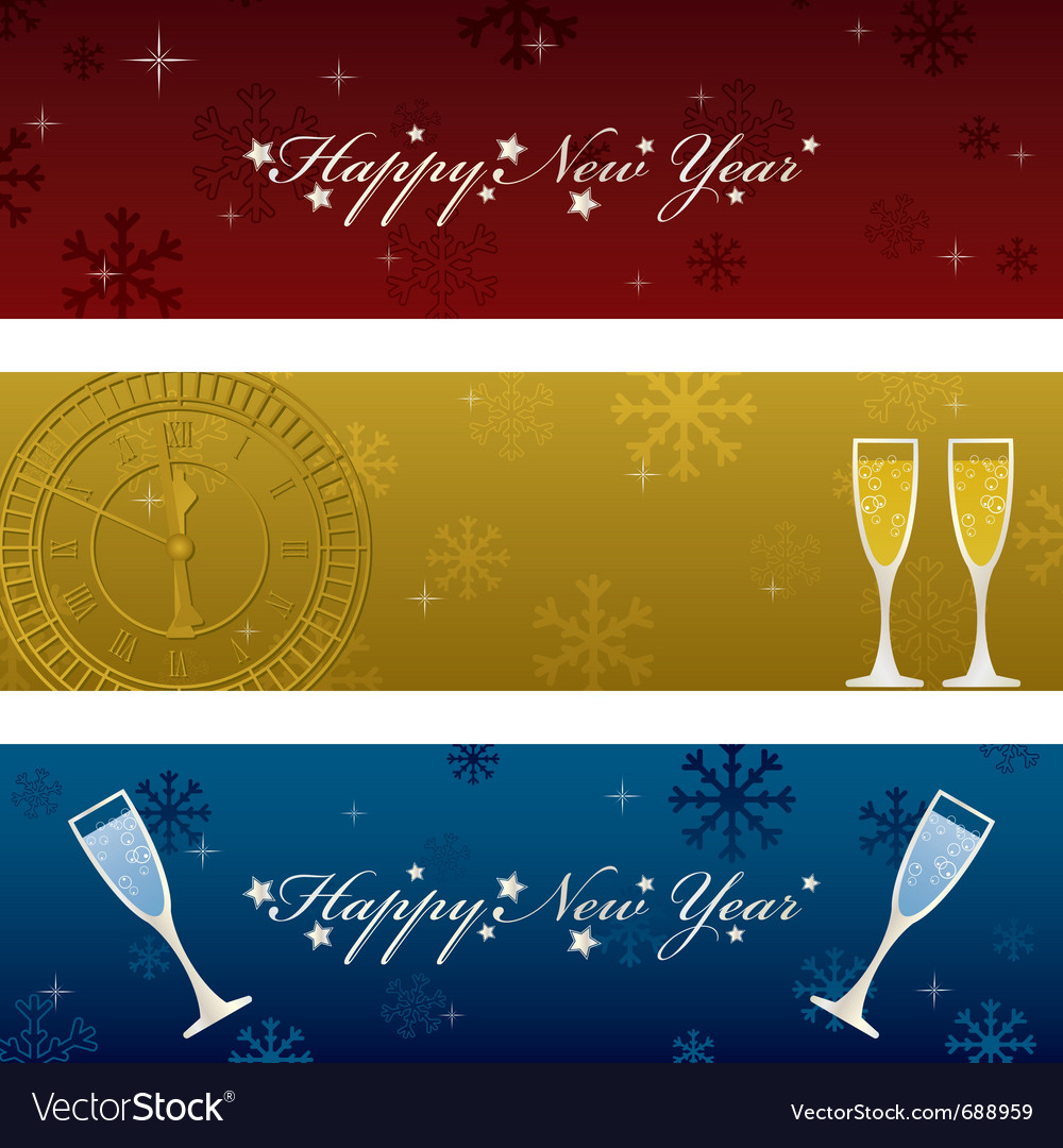 Horizontal new years banners vector | Price: 1 Credit (USD $1)