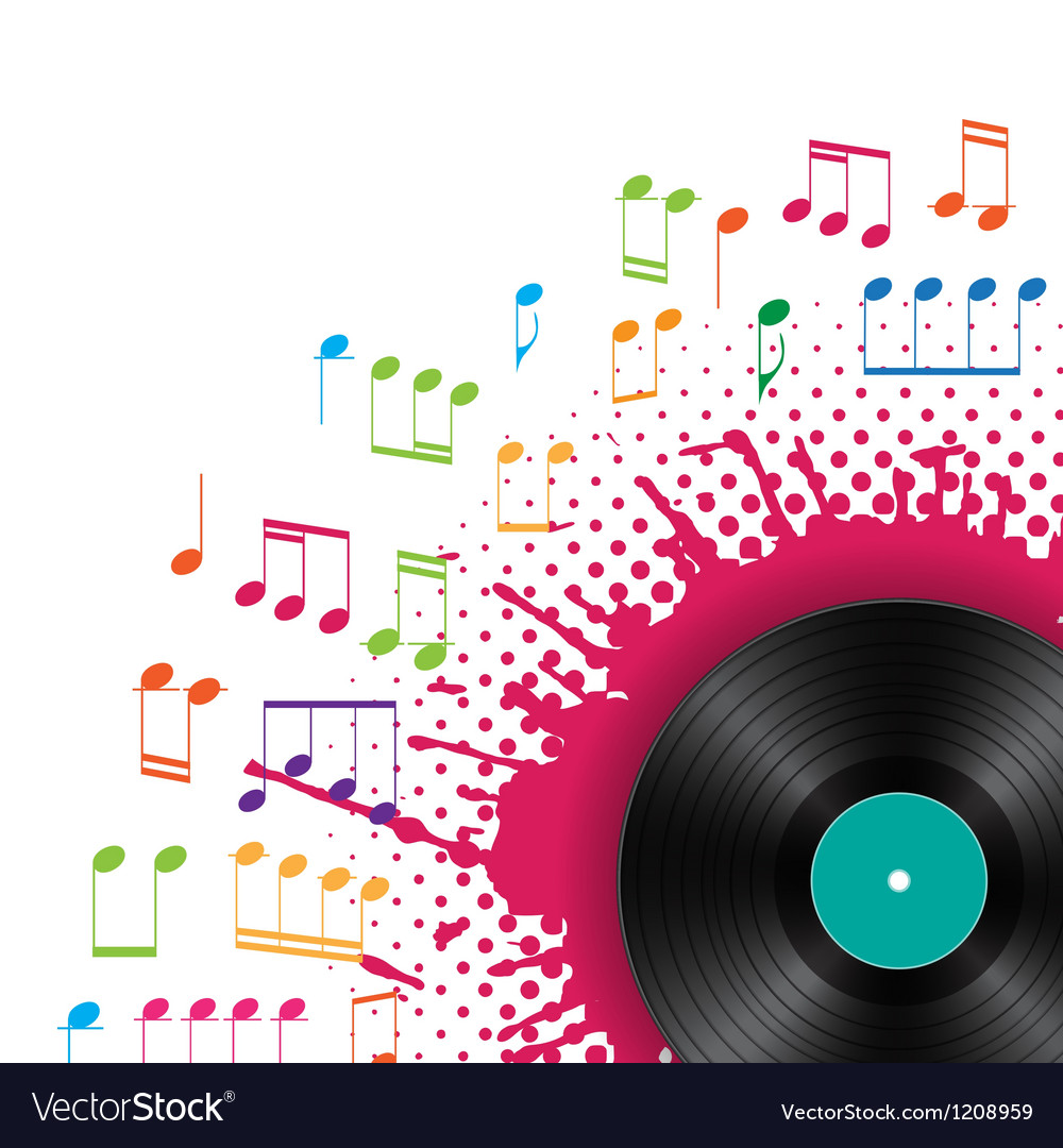 Musical background with vinyl vector | Price: 1 Credit (USD $1)