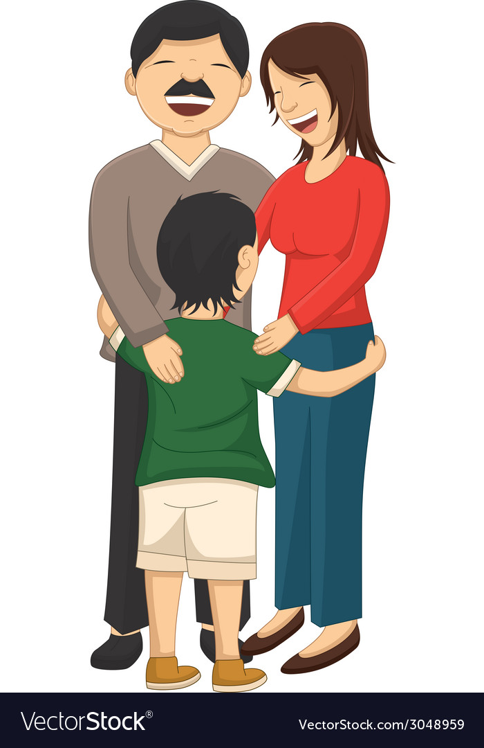 Of a little boy hugging parent vector | Price: 1 Credit (USD $1)