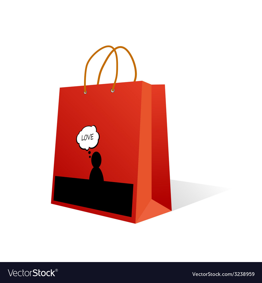 Paper bag with love icon color vector | Price: 1 Credit (USD $1)
