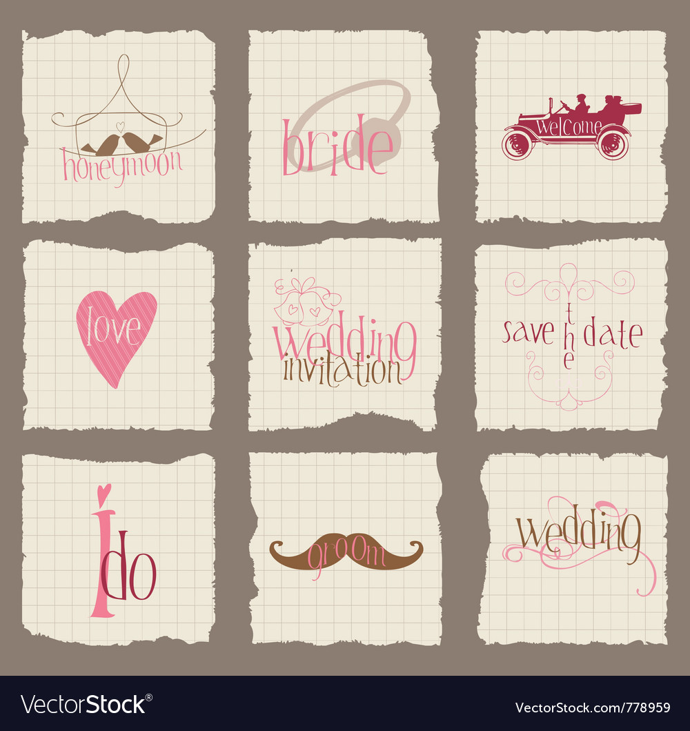 Paper love and wedding design elements for invita vector