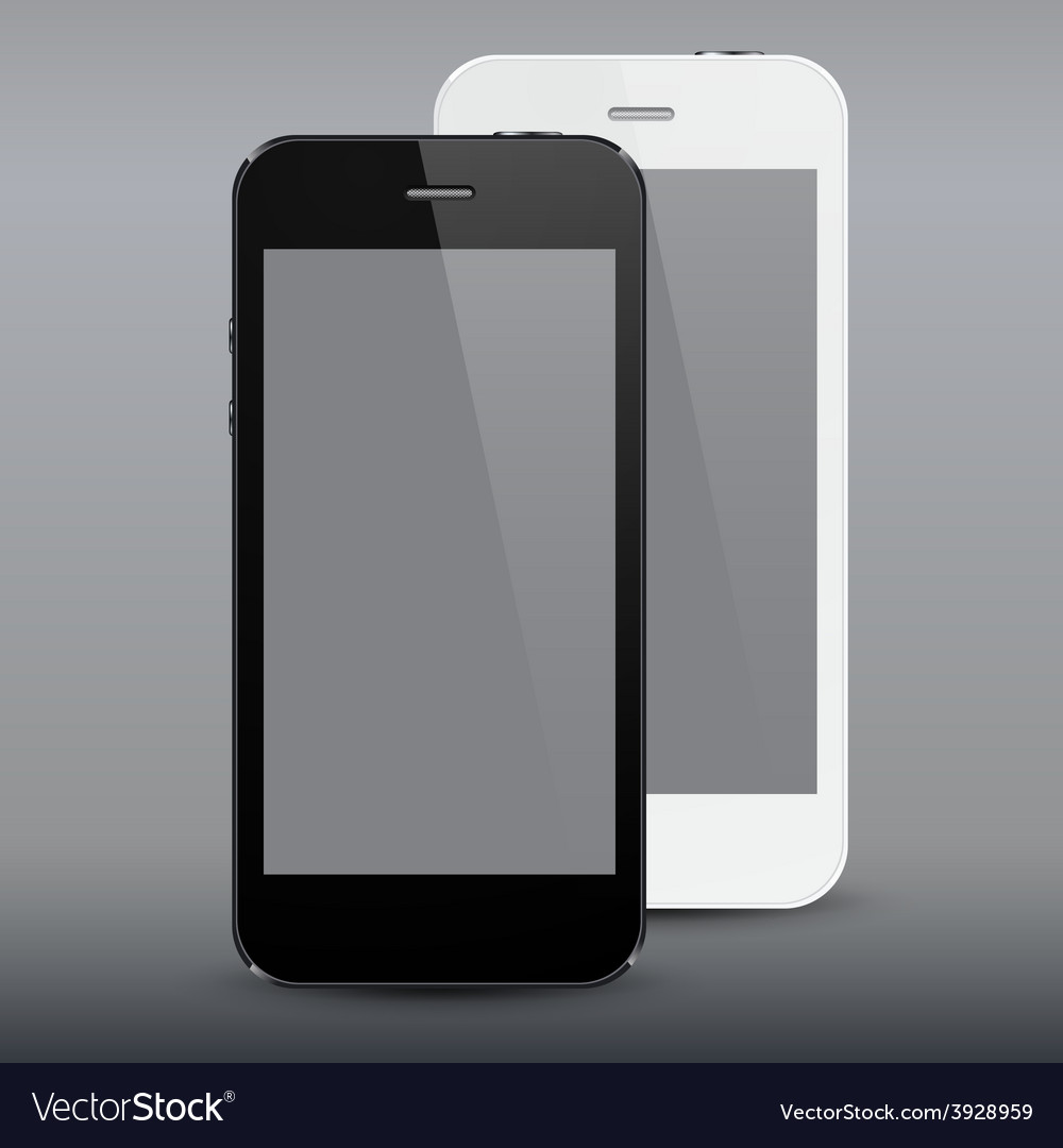 Realistic black and white smartphones vector | Price: 1 Credit (USD $1)