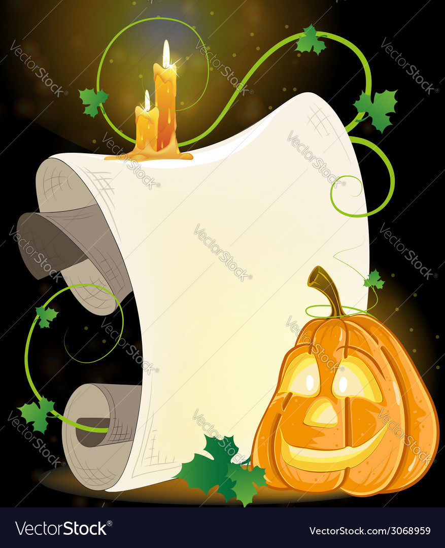 Smiling jack o lantern parchment and burning vector | Price: 1 Credit (USD $1)