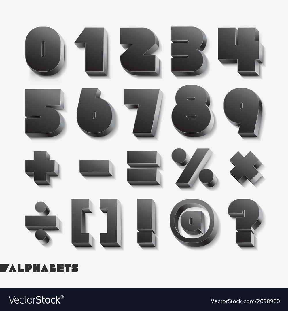 3d alphabet number black color vector | Price: 1 Credit (USD $1)
