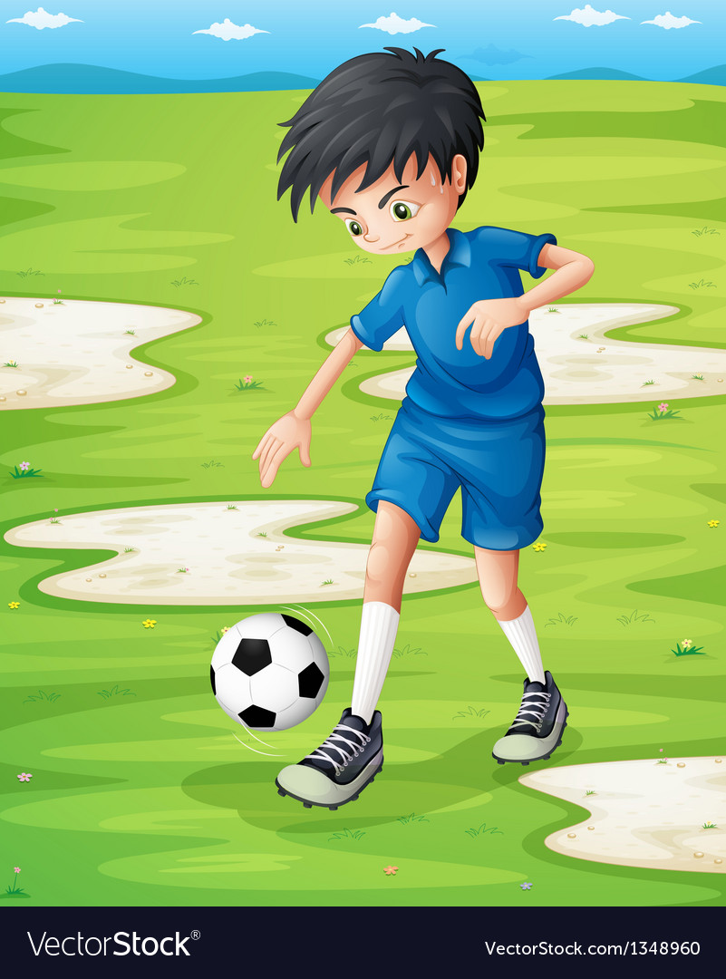 A boy sweating while playing football vector | Price: 1 Credit (USD $1)